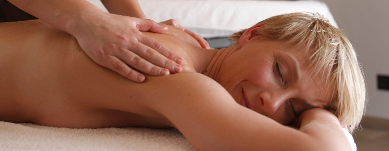 A woman enjoy her massage